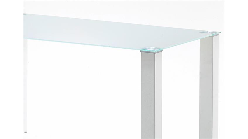 Tisch HANNA Küchentisch in weiß hochglanz Glas 140 cm