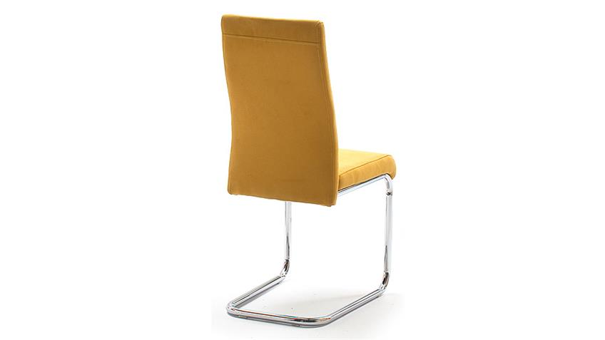Stuhl JONAS 4er-Set Esszimmerstuhl in curry gelb und Chrom