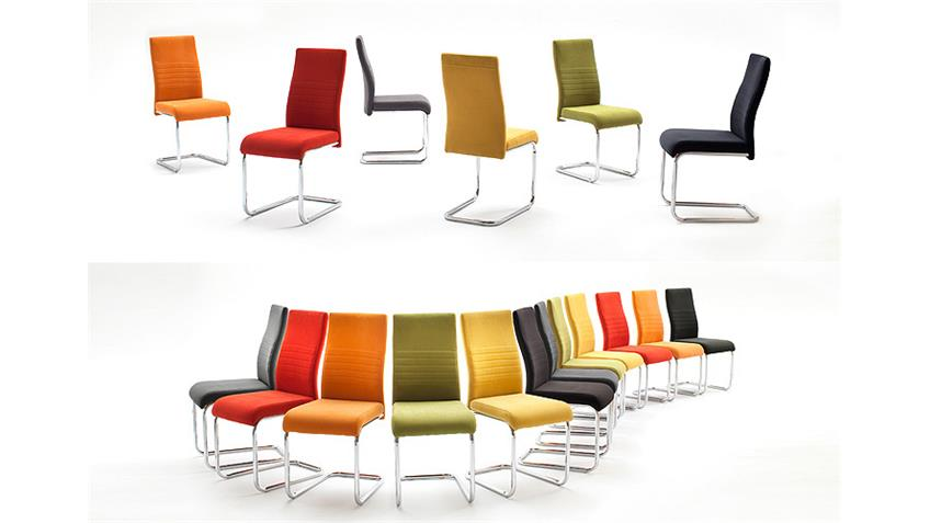 Stuhl JONAS 4er-Set Schwingstuhl in Kiwi grün und Chrom