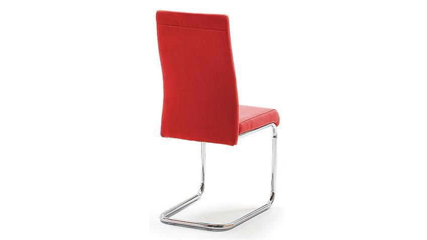 Schwingstuhl JONAS Esszimmerstuhl 4er Set in Rot Chrom
