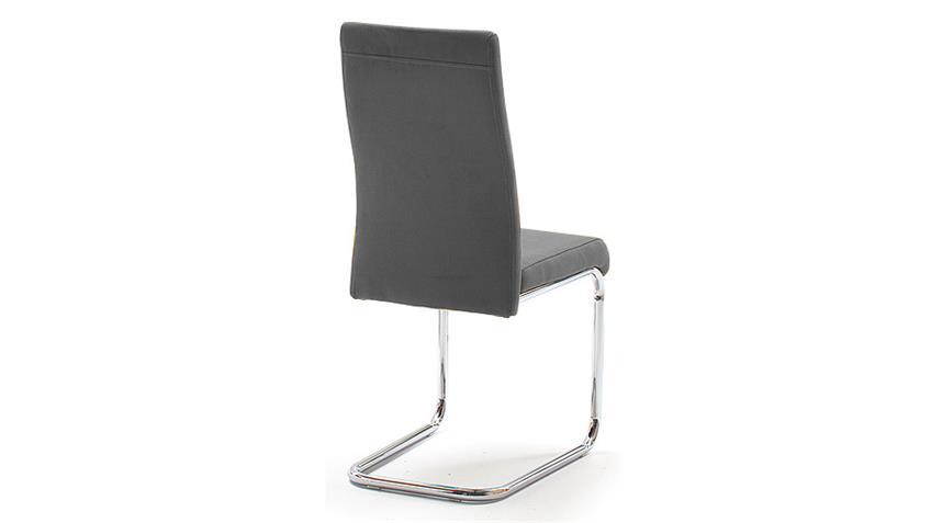 Schwingstuhl JONAS 4er Set Esszimmerstuhl in grau und Chrom