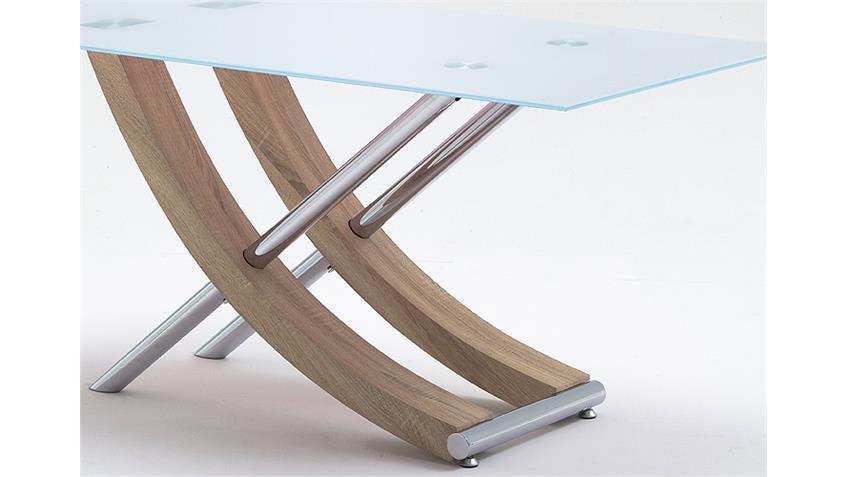 Tisch SAMOA Eiche Sägerau Edelstahl Glas 160 cm