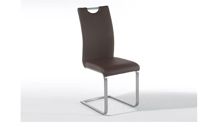 Stuhl PAULO 4er Set Schwingstuhl in braun und Edelstahl