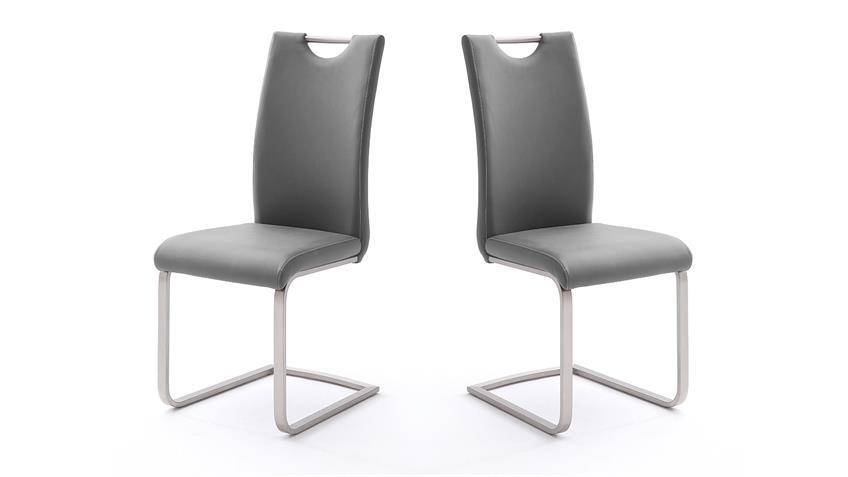 Stuhl 4er-Set PAULO Esszimmerstuhl in grau und Edelstahl