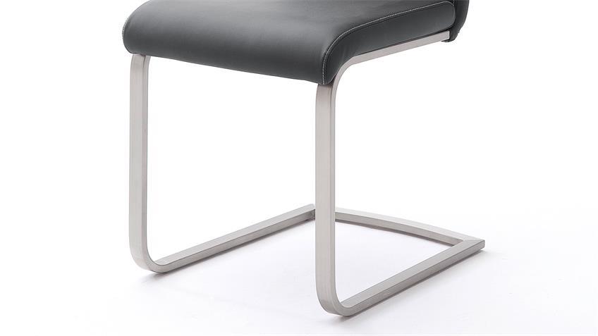 Stuhl 4er-Set PAULO Esszimmerstuhl in schwarz und Edelstahl
