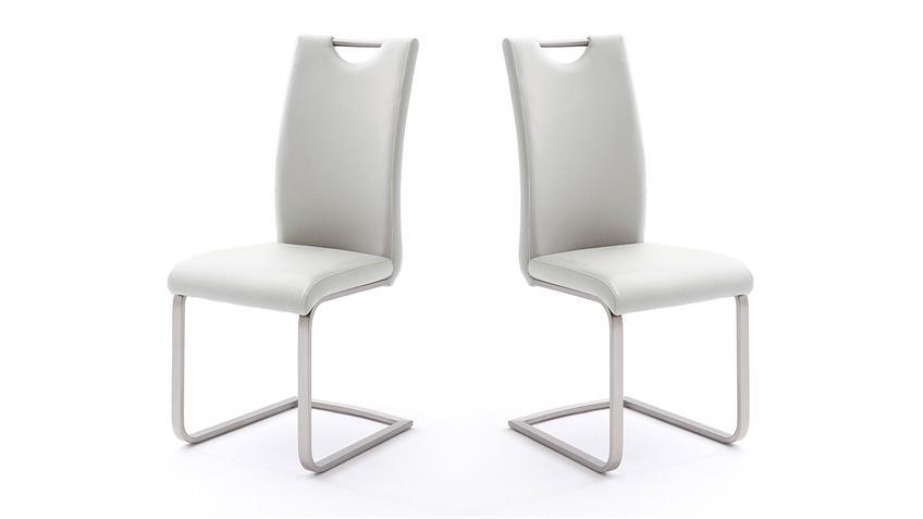 Stuhl 4er-Set PAULO Esszimmerstuhl in weiß und Edelstahl