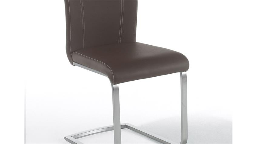 Stuhl PAULO Esszimmerstuhl 4er-Set in braun und Edelstahl