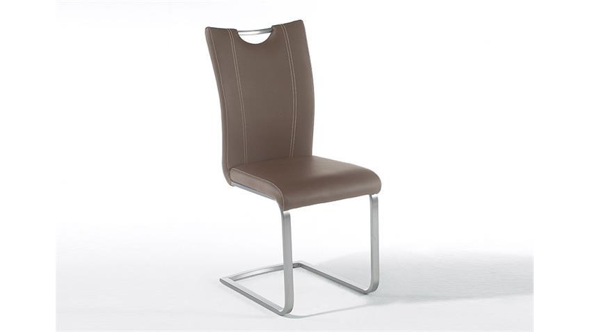 Stuhl PAVO 4er Set Esszimmerstuhl Cappuccino und Edelstahl