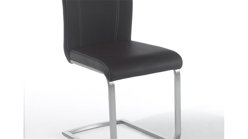 Stuhl PAVO 4er-Set Schwingstuhl in schwarz und Edelstahl