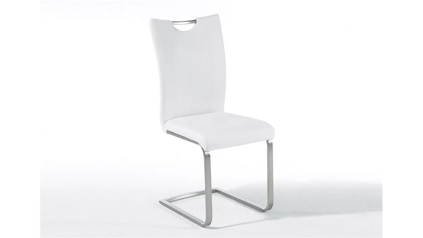 Schwingstuhl PAVO 4er-Set Esszimmerstuhl weiß und Edelstahl