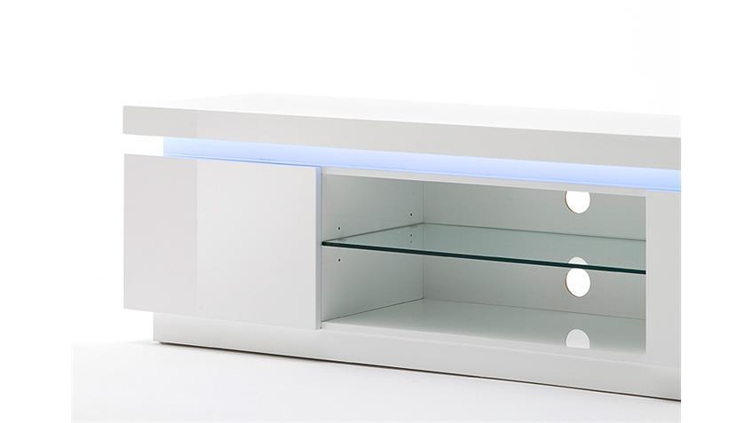 TV-Board 1 OCEAN Weiß Hochglanz inkl. RGB-Beleuchtung 175 cm