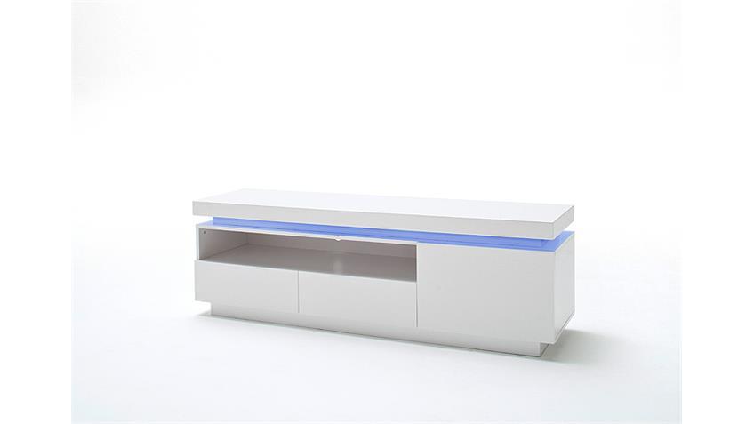 TV-Board OCEAN Weiß Hochglanz inkl. RGB-Beleuchtung 150 cm