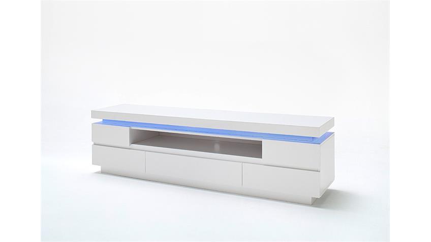 TV-Board 2 OCEAN Weiß Hochglanz inkl. RGB-Beleuchtung 175 cm
