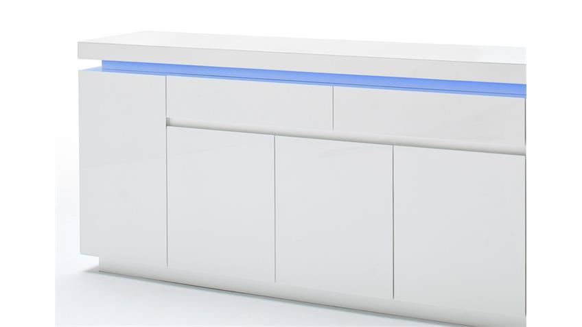Sideboard OCEAN Weiß Hochglanz inkl. RGB-Beleuchtung 200 cm