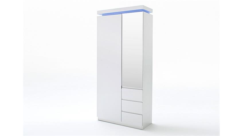 Garderobenschrank OCEAN Weiß Hochglanz inkl. RGB-Beleuchtung