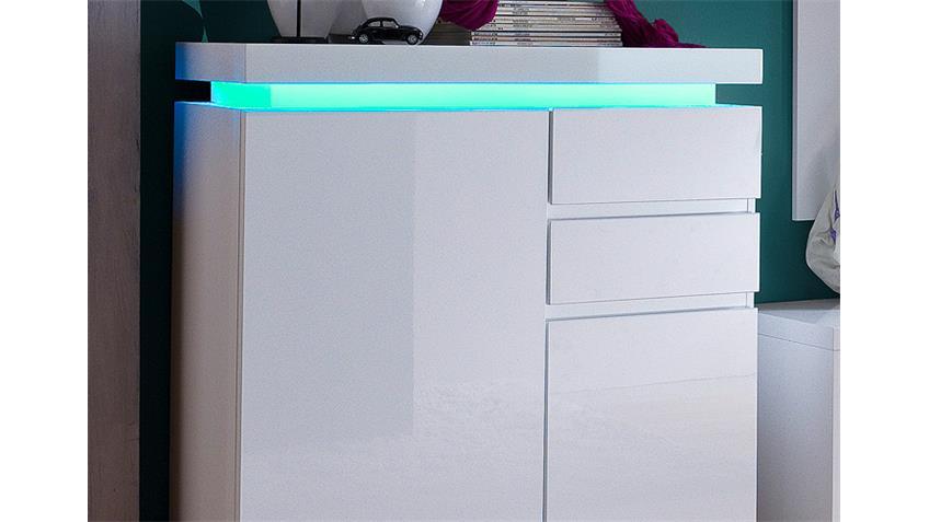 Schuhschrank OCEAN Weiß Hochglanz inkl. RGB-Beleuchtung