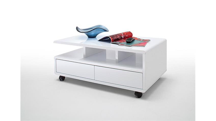 Couchtisch CHRIS Beistelltisch Tisch weiß Hochglanz 100x60