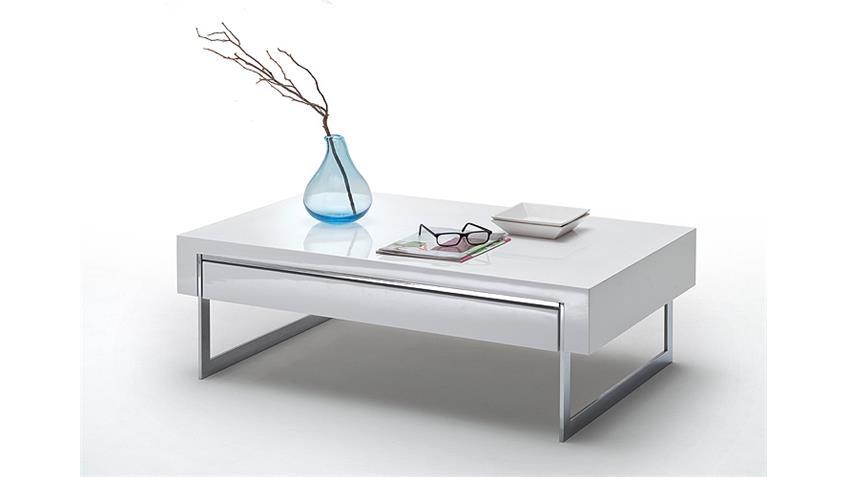 Couchtisch COOPER Beistelltisch Tisch weiß Hochglanz 110 cm