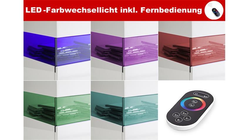 TV-Board LIV Weiß Hochglanz Lack Plus LED