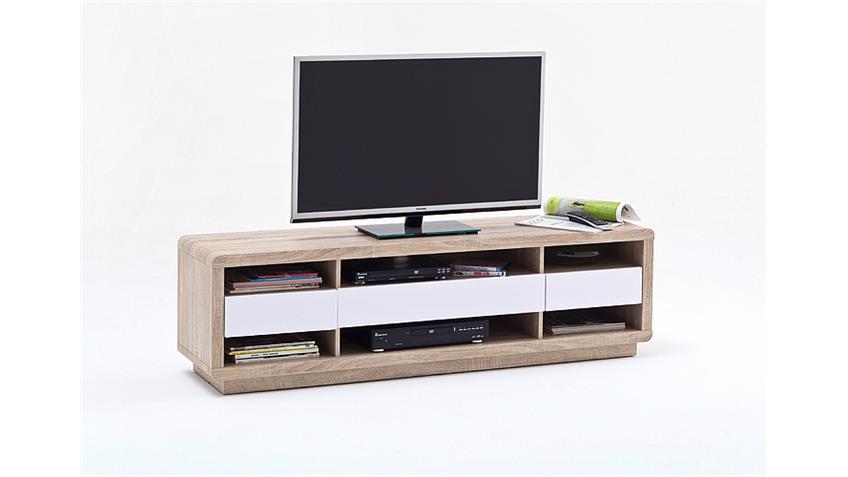 TV-Board GARRY Sonoma Eiche Weiß Hochglanz