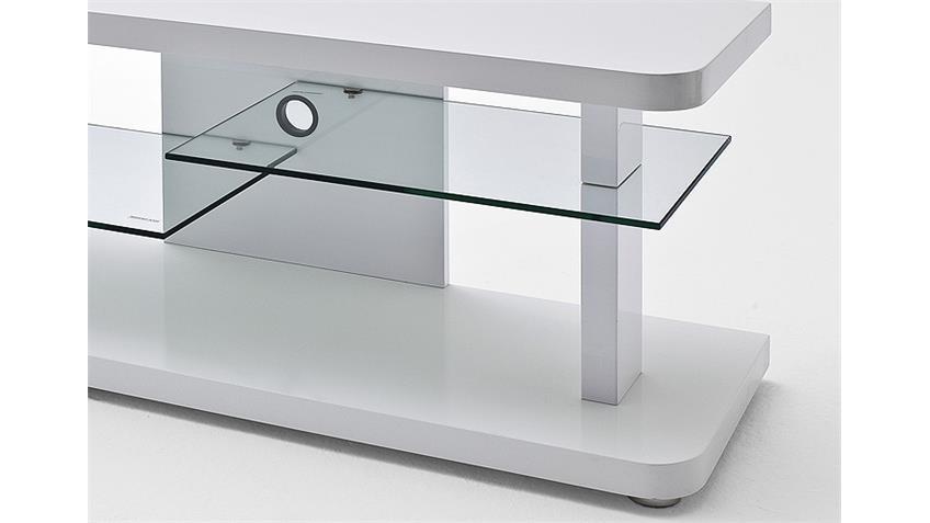 TV Board CULT Lowboard in weiß hochglanz Lack und Glas