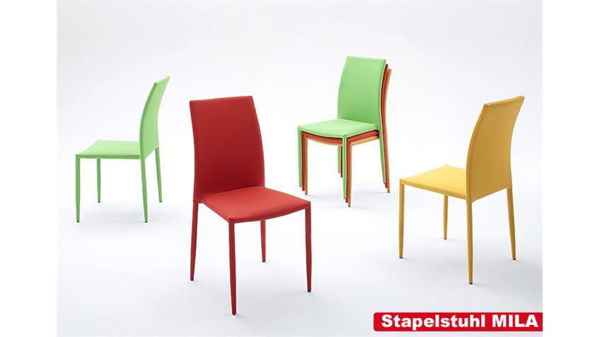 Stuhl MILA 6er Set Stapelstuhl Esszimmerstuhl in orange