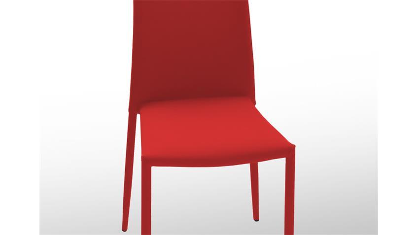 Stuhl MILA 6er Set Stapelstuhl Esszimmerstuhl in rot