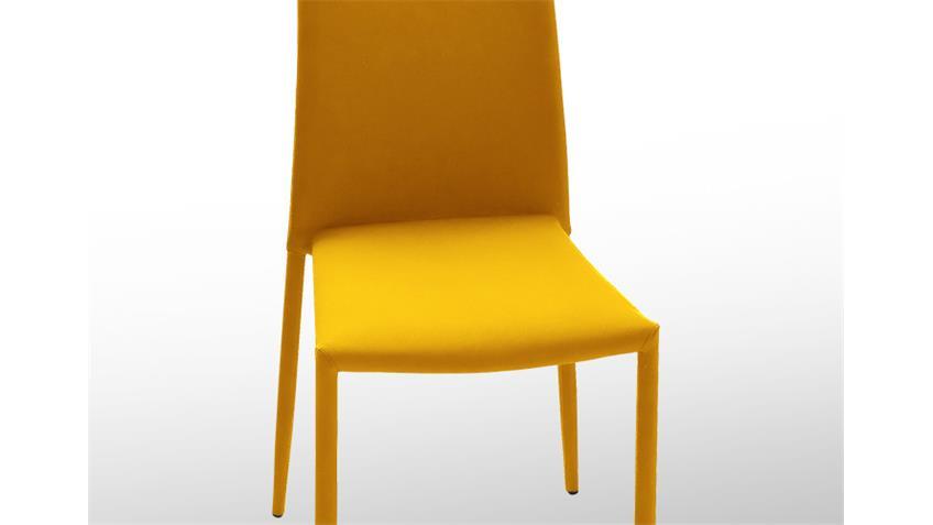 Stuhl MILA Stapelstuhl Esszimmerstuhl 6er Set in Curry Gelb