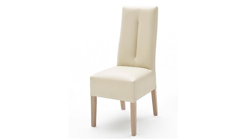 Stuhl FANNY Polsterstuhl in Beige und Sonoma Eiche 2er Set
