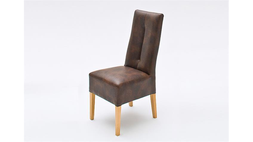 Stuhl 2er Set FANNY Antik-Braun Buche natur massiv