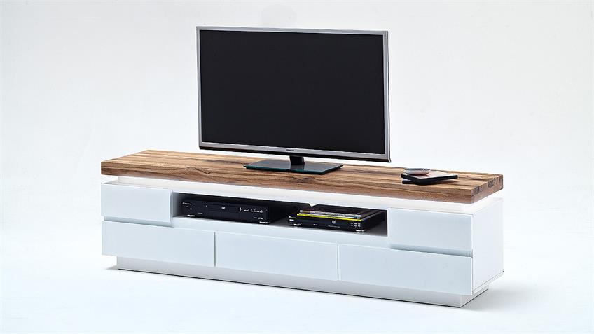 Lowboard 2 Romina in weiß lackiert und Eiche massiv inkl. LED