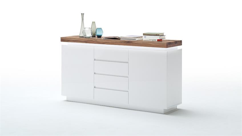 Sideboard 1 ROMINA Weiß matt Lack Eiche massiv inkl. LED