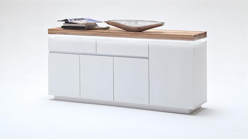 Sideboard 2 ROMINA weiß matt Lack Eiche massiv inkl. LED