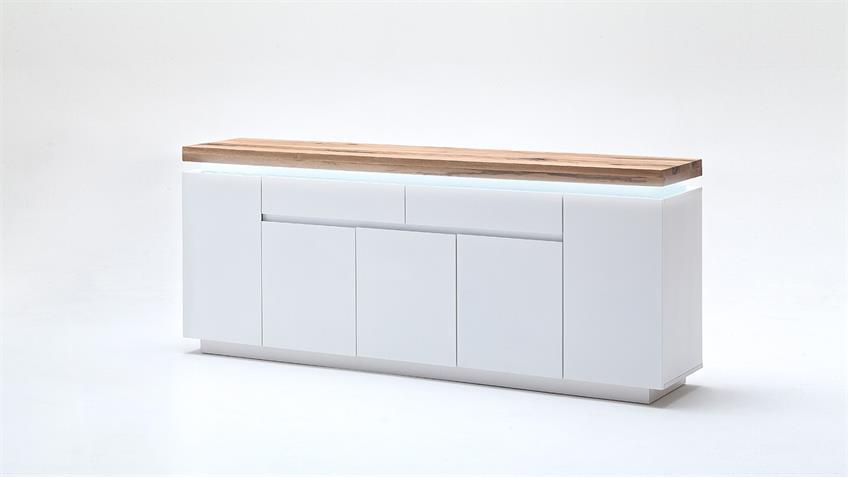 Sideboard 3 ROMINA Weiß matt Lack Eiche massiv inkl. LED