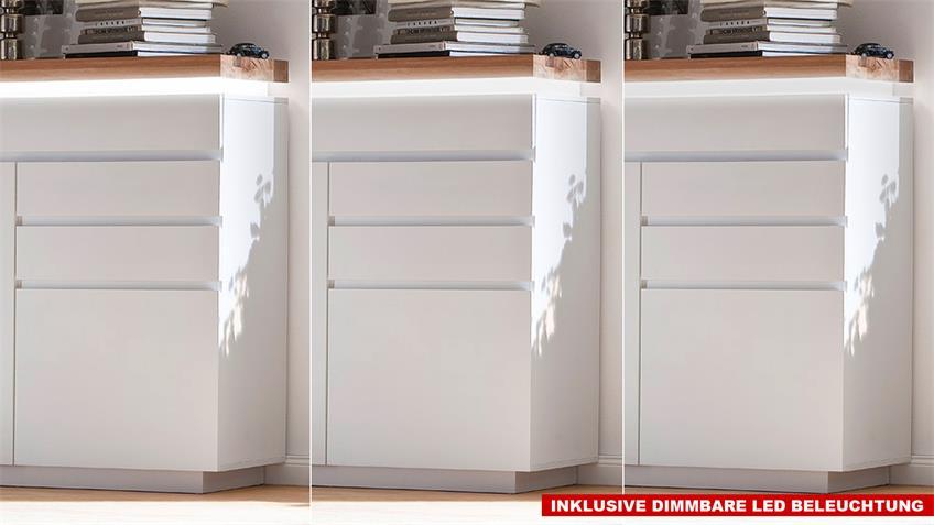 Sideboard 3 Romina in weiß lackiert und Eiche massiv inkl. LED