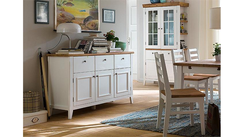 Sideboard MALIN Akazie teilmassiv Weiß Lack Breite 154 cm