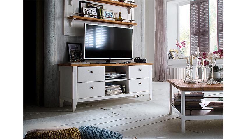 TV-Board MALIN Akazie teilmassiv Weiß Lack