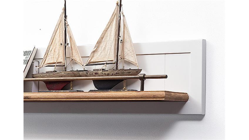 Wandboard MALIN Akazie teilmassiv Weiß Lack 103 cm