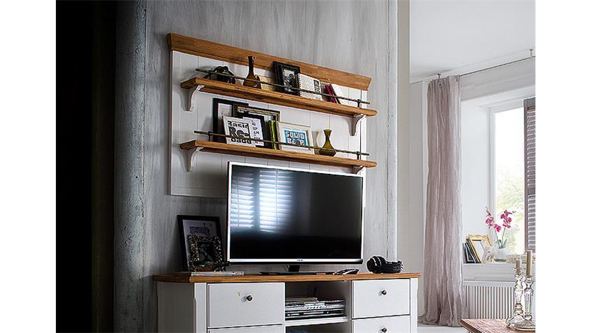 Wandboard MALIN Akazie teilmassiv Weiß Lack 140 cm