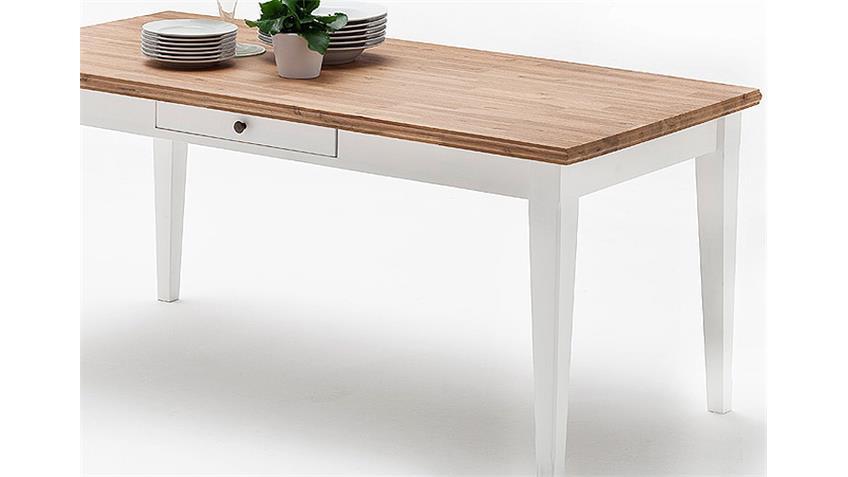 Esstisch MALIN Akazie Weiß Lack 180x90 cm