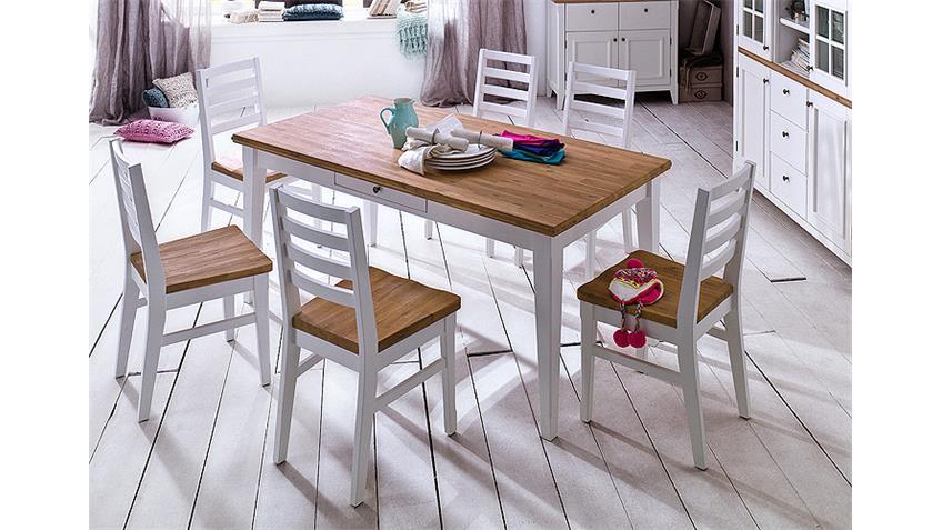 Stuhl MALIN 2er Set in Akazie massiv und weiß lackiert