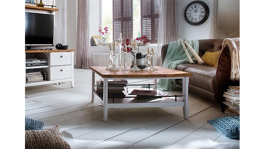 Couchtisch MALIN Akazie Weiß Lack 90x90 cm