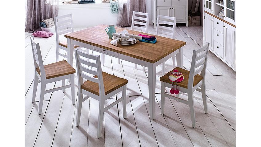 Tischgruppe MALIN Akazie massiv Weiß Lack 180x90 cm