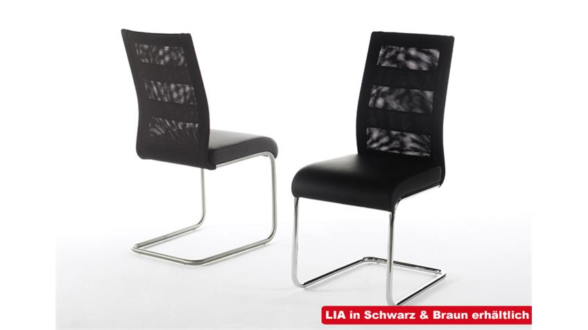 Schwingstuhl 2er Set LIA in braun Lederlook in Chrom