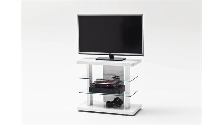 TV-Media-Rack TOWER TV-Regal in Weiß Hochglanz lackiert Glas