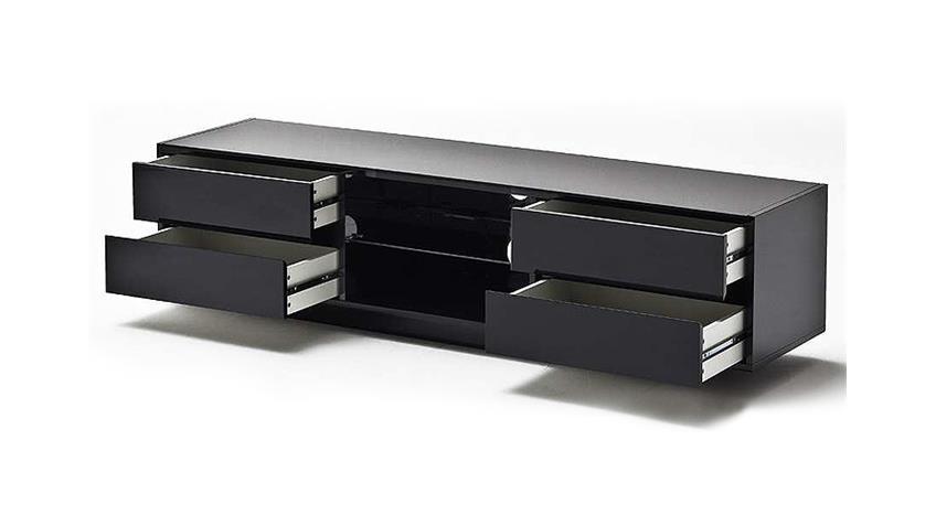 TV-Board SWING schwarz Hochglanz lackiert Glas inklusive LED