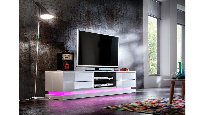 tv board brant wei hochglanz lackiert glas inklusive led. Black Bedroom Furniture Sets. Home Design Ideas