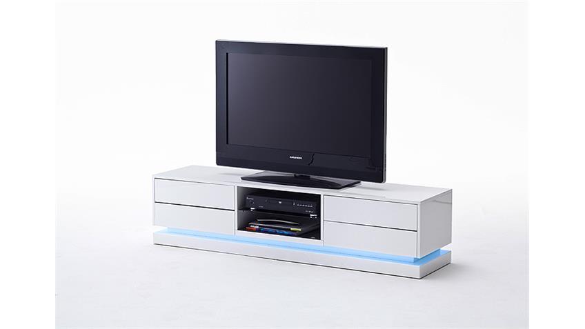 TV-Board BRANT Weiß Hochglanz lackiert Glas inklusive LED
