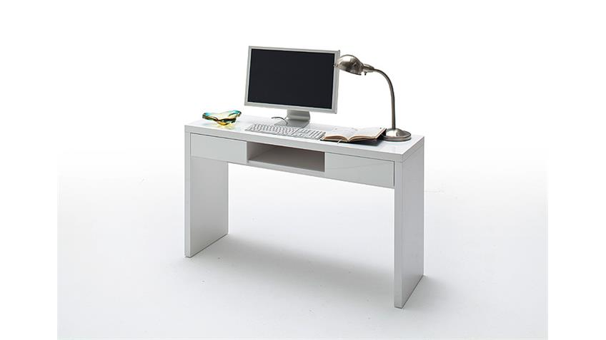 Schreibtisch MALTE PC Tisch in weiß Hochglanz lackiert