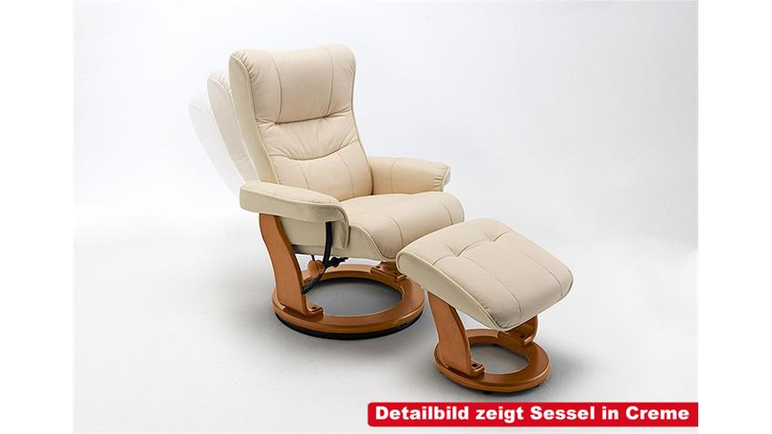 Relaxsessel MONTREAL Braun Echtleder Sessel inkl. Hocker